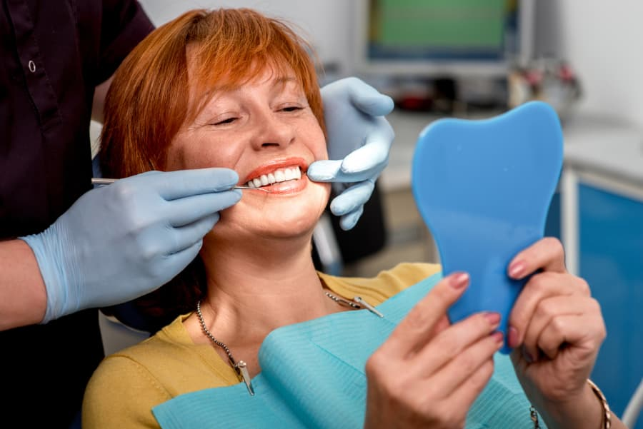 senior woman at dental office